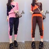 Fashion Contrast Color Long Sleeve Sweatshirt + Harem Pants Two-piece Set