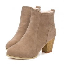 British Style Thick Heel Round Toe Ankle Boots Booties