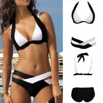 Sexy Contrast Color Crossover Halter Bikini Set