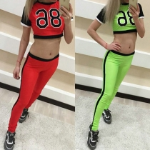 Sport Style Letters Printed Short Sleeve Tops + High Waist Pants Sports Suit
