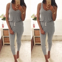 Fashion sexy Solid Color Sleeveless Round Neck Jumpsuit
