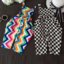 Fashion High Waist Printed Sling Jumpsuits for Children