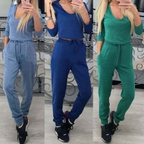 Casual Style Solid Color Scoop Neck Long Sleeve Drawstring Waist Sports Suit