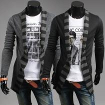 Fashion Casual Stripe Spliced Long Sleeve Knit Men's Cardigan