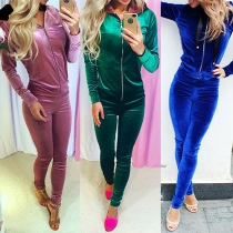 Fashion Casual Solid Color Long Sleeve Front Zipper Hoodie Sports Suit