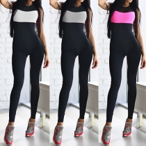 Sexy Backless Sleeveless Contrast Color Sports Jumpsuits