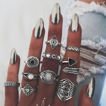 Retro Gold/Silver-tone Alloy Ring Set 10 pcs/Set