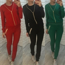 Fashion Solid Color Long Sleeve Zipper Sweatshirt + Pants Casual Sports Suit