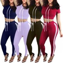 Sexy Short Sleeve Hooded Crop Top + High Waist Sports Pants Two-piece Set