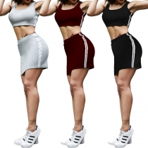 Sexy Solid Color Sports Tank Top + High Waist Skirt Two-piece Set