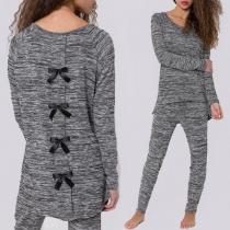 Fashion Long Sleeve Irregular Hem Bowknot T-shirt + Pants Two-piece Set