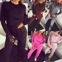 Fashion Solid Color Long Sleeve Round Neck T-shirt + Pants Two-piece Set