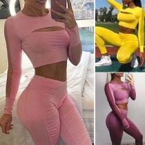 Sexy Gauze Spliced Long Sleeve Crop Top + High Waist Leggings Sports Suit