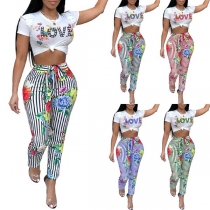 Fashion Letters Printed Short Sleeve Crop Top + High Waist Striped Pants Two-piece Set