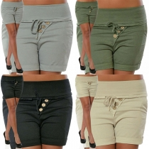 Fashion Solid Color High Waist Slim Fit Shorts