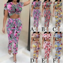 Sexy Short Sleeve Round Neck Printed Crop Top + High Waist Pants Two-piece Set