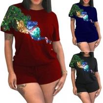 Fashion Sequin Spliced T-shirt + Shorts Two-piece Set