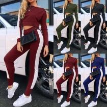 Fashion Contrast Color Long Sleeve Crop Top + Sports Leggings Two-piece Set