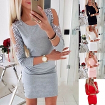 Sexy Off-shoulder Long Sleeve Round Neck Slim Fit Beaded Dress