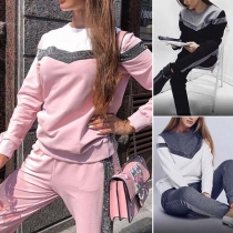 Fashion Contrast Color Long Sleeve Round Neck Sports Suit