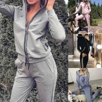 Fashion Contrast Color Long Sleeve Hooded Sweatshirt Coat + Pants Sports Suit