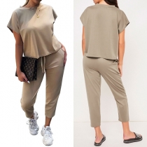 Fashion Solid Color Round-neck Short Sleeve Shirt + Cropped Trousers Two-piece Set
