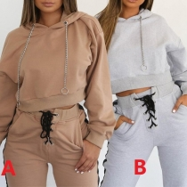 Fashion Solid Color Alloy Pendant Hooded Sweatshirt + Lace-up Pants Two-piece Set