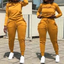 Fashion Solid Color Long Sleeve Ruffle Sweatshirt + Pants Two-piece Set