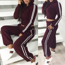 Fashion Striped Spliced Long Sleeve Hoodie + Pants Sports Suit