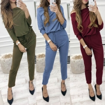 Fashion Solid Color Long Sleeve Drawstring Waist Jumpsuit