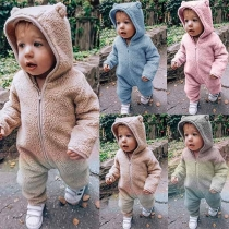 Fashion Solid Color Long Sleeve Plush Jumpsuit for Babies