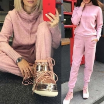 Fashion Solid Color Long Sleeve Turtleneck Sweater + Pants Knit Two-piece Set