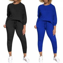 Fashion Solid Color Dolman Sleeve Top + Pants Two-piece Set