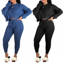 Fashion Oblique Shoulder Knitted Sweater +Knitted Pants Two-piece Set