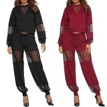 Sexy Hollow Out Gauze Spliced Long Sleeve Sweatshirt + Pants Two-piece Set