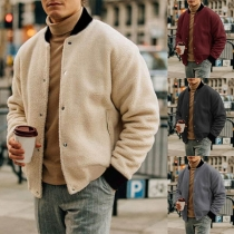 Fashion Contrast Color Long Sleeve Stand Collar Men's Thin Plush Jacket