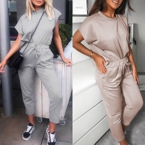 Fashion Solid Color Short Sleeve Round Neck Top + Pants Two-piece Set