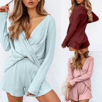 Sexy Crossover V-neck Long Sleeve Top + Shorts Two-piece Set