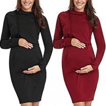 Fashion Solid Color Hoode Breastfeeding Maternity Sweatshirt Dress