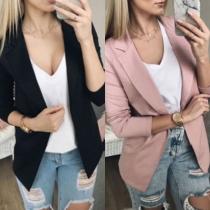 Fashion Solid Color Long Sleeve Slim Fit Blazer
