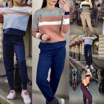 Fashion Contrast Color Long Sleeve Knit Top + Pants Two-piece Set