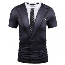 Fashion Solid Color Lapel Collar Printed Tie Short Sleeve Fake Two-piece Set Blazer