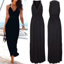 Sexy Solid Color V-neck High Waist Sleeveless Dress