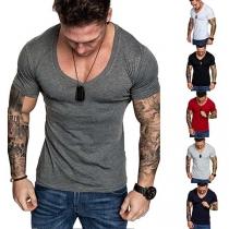 Simple Style Short Sleeve V-neck Men's T-shirt