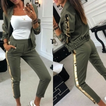 Fashion Sequin Spliced Long Sleeve Stand Collar Coat + Pants Two-piece Set
