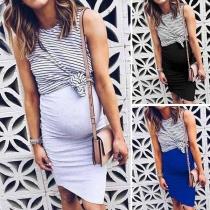 Fashion Striped Spliced Sleeveless Mock Two-piece Maternity Dress