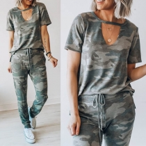 Fashion Camouflage Printed Short Sleeve T-shirt + Pants Two-piece Set
