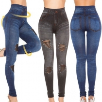 Sexy Hollow Out Ripped High Waist Slim Fit Leggings