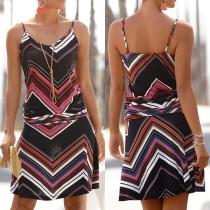 Sexy Backless Wavy-striped Sling Dress