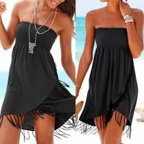 Sexy Strapless Tassel Hem Solid Color Dress